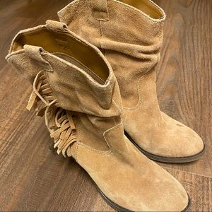 Limelight tan suede heeled cowboy boot with fringe